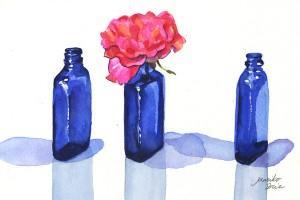 Blue Bottles & Pink Rose