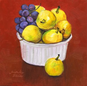 Pears & Grapes in Red