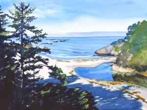 543. Love at Jug Handle Beach  Watercolor painting by Mariko Irie 2012