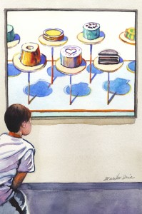 562. Cakes & Boy Watercolor painting by Mariko Irie