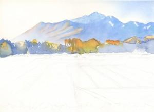 549. Mondrian in Rice Field process 2 Watercolor Painting  by Mariko Irie