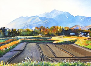 594. Mondrian in Rice Field process 4 Watercolor Painting by Mariko Irie