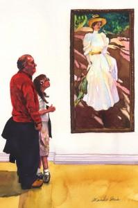 565. Sorolla with Grandpa Watercolor painting by Mariko Irie