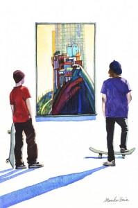 563.  Thiebaud & Skateboarders Watercolor painting by Mariko Irie