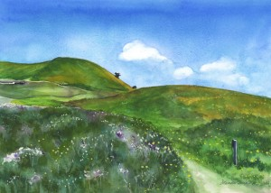 577, Spring Over the Hill watercolor painting by Mariko Irie