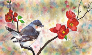 806. Quince and a Bird_blog