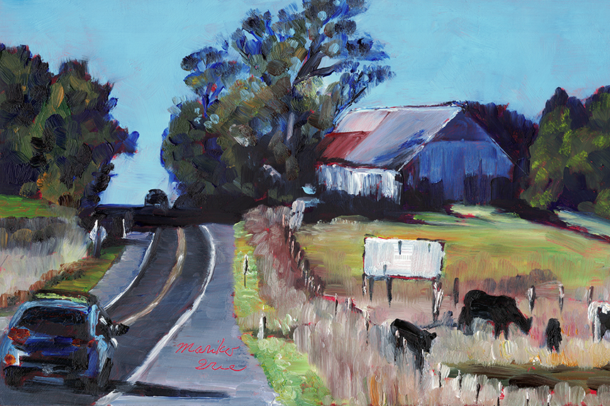 East Peak Stage Gulch Pass, Sonoma CA, sunny, barn, cows, relaxing, colorful, road, rural scene